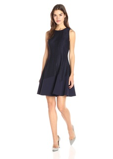 Anne Klein Women's Lace-Crepe Combo Jewel Neck Seamed Fit and Flare