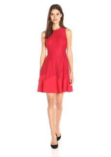 Anne Klein Women's Lace-Crepe Combo Seamed Fit and Flare