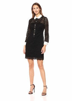 Anne Klein Women's LACE Sheath Dress Black White