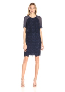 Anne Klein Women's Lace/Chiffon Short Slv Sheath Dress