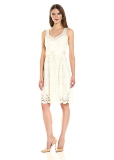 Anne Klein Women's Lace/Stain Combo Racer Back Fit &Flare