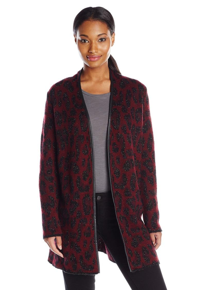 Anne Klein Anne Klein Women's Leather Trim Leopard Sweater ...