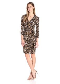 Anne Klein Women's Leopard Print Faux Wrap Dress