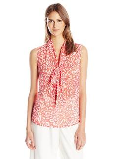Anne Klein Women's Leopard Tie Front Blouse