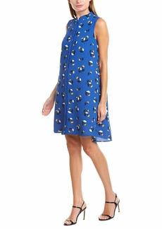 Anne Klein Women's Linen Button Down Dress Blue/Cezanne Yellow