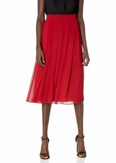 Anne Klein Women's Long Pleated Skirt Titian red