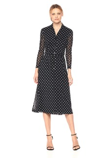 Anne Klein Women's Long Sleeve Belted Button Front Printed Mesh Dress