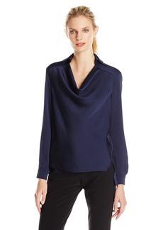 Anne Klein Women's Long Sleeve Drape Neck Blouse