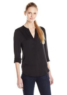 Anne Klein Women's Long Sleeve Lace Back V-Neck Blouse