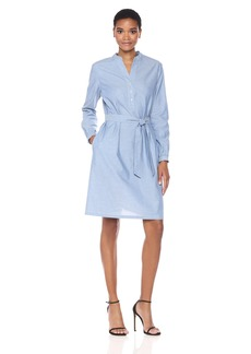 Anne Klein Women's Long Sleeve Midi Self Belted Shirt Dress-Chambray  XXS