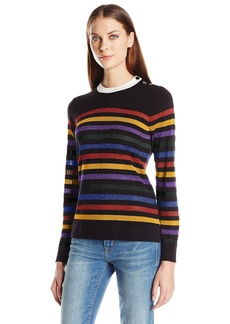 Anne Klein Women's Long Sleeve Multi Color Striped Sweater