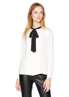 Anne Klein Women's Long Sleeve Pleat Front Bow Blouse