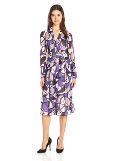 Anne Klein Women's Long-Sleeve Printed Georgette V-Neck Fit-and-Flare Dress