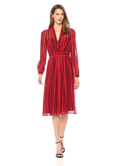 Anne Klein Women's Long Sleeve Printed V-Neck Dress titian Red/Black Combo