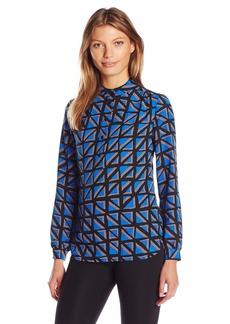 Anne Klein Women's Long Sleeve Tile Print Tunic
