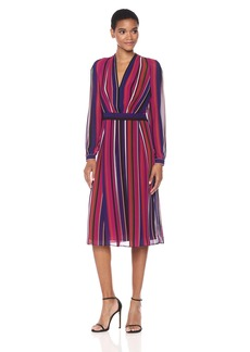 Anne Klein Women's Long Sleeve Vneck Fit and Flare Dress-Printed Georgette
