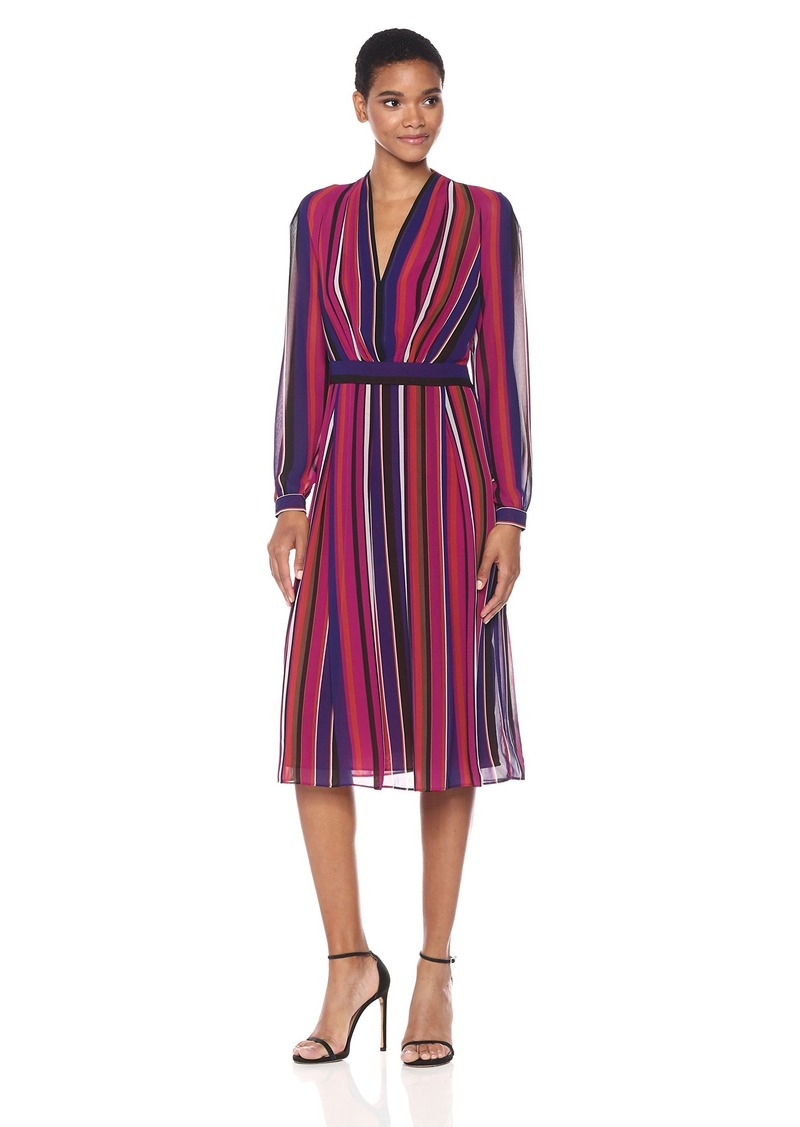 07715916549 Anne Klein Women s Long Sleeve Vneck Fit and Flare Dress-Printed Georgette