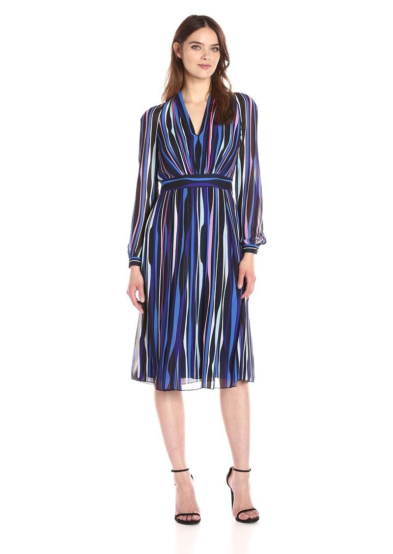 Anne Klein Women's Long Sleeve Vneck Printed Georgette Dress