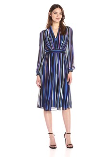 Anne Klein Women's Long Sleeve Vneck Printed Georgette Dress