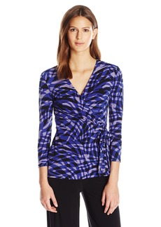 Anne Klein Women's Long Sleeve Wrap Top  XL