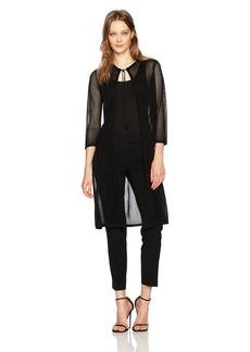 Anne Klein Women's Mesh Long Sleeve Duster Cardigan  M