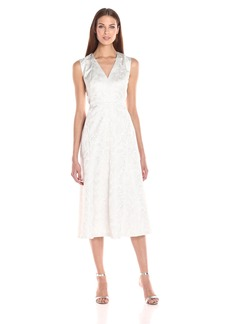 Anne Klein Women's Metallic Jacquard Seamed Fit-and-Flare Dress
