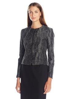 Anne Klein Women's Metallic Jacquard Zip Front Jacket