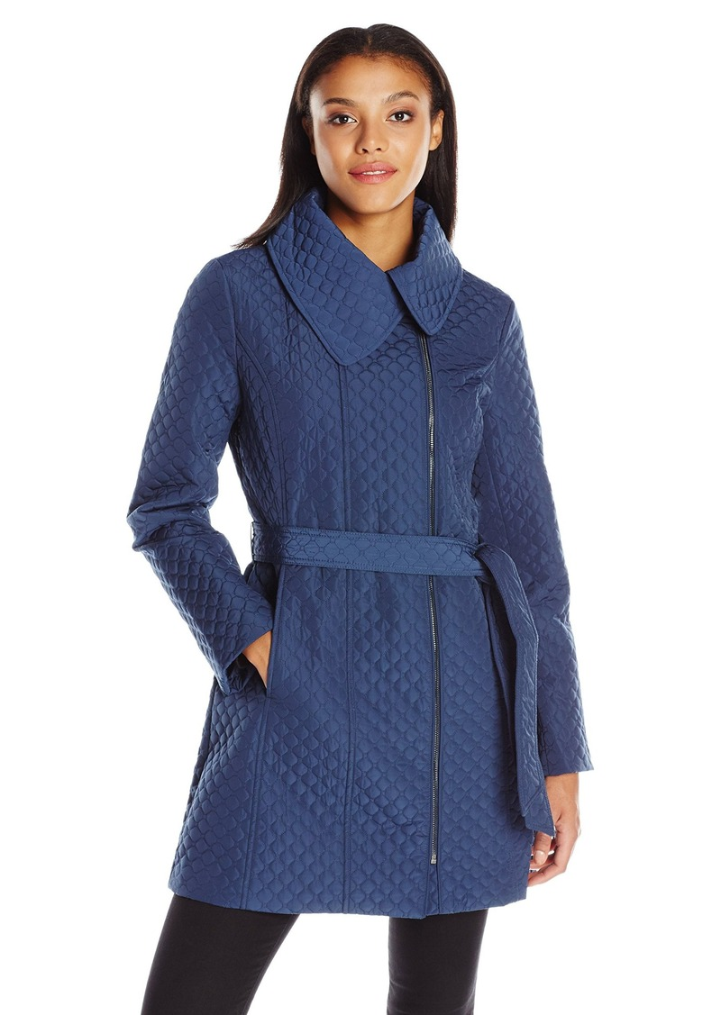 Anne Klein Women's Mid Length Zip up Poly Quilt Belted Jacket