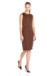 Anne Klein Women's Milano Stretch Asymmetrical Side Drape Dress With Exposed Zipper Detail Bronze/Gold