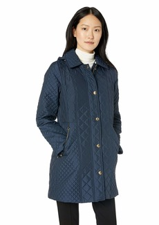Anne Klein Women's Mixed Quilted Coat with Removable Hood navy