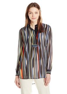 Anne Klein Women's Multi Stripe Long Sleeve Poet Blouse