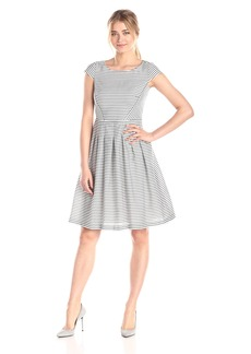 Anne Klein Women's Newport Stripe Day Fit and Flare Dress