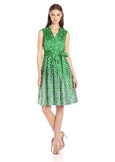 Anne Klein Women's Notch Collar Dot Print Self Belted Wrap Dress