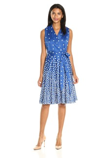 Anne Klein Women's Cotton Notch-Collar Wrap-Front Self-Belted Dress with Full Skirt