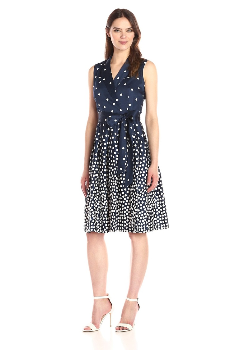 Anne Klein Women's Notch Collar Dot Print Self Belted Wrap Dress