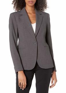 Anne Klein Women's Notch Collar One Button Blazer ZINC/Anne Black
