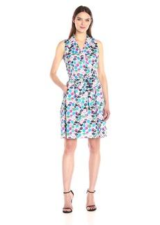 Anne Klein Women's Notch Collar Wrap Dress with Full Skirt