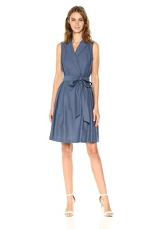 Anne Klein Women's Notch Collar Wrap Dress W/Full Skirt-Chambray