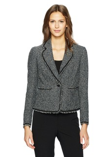 Anne Klein Women's One Button Tweed Jacket