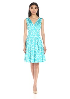 Anne Klein Women's Paisley Printed Cotton Double Vneck Fit and Flare Dress