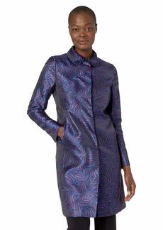 Anne Klein Women's Peterpan Collar Topper Coat Gauguin/Cordovan Combo
