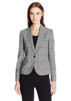 Anne Klein Women's Plaid One Button Jacket