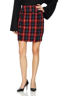 Anne Klein Women's Plaid Pencil Skirt Titian RED Combo