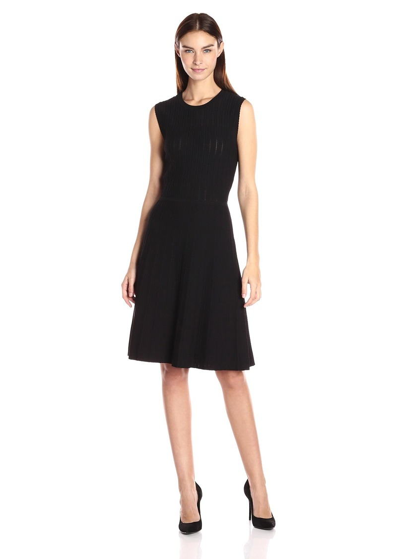 Anne Klein Anne Klein Women S Pleated Sweater Dress L