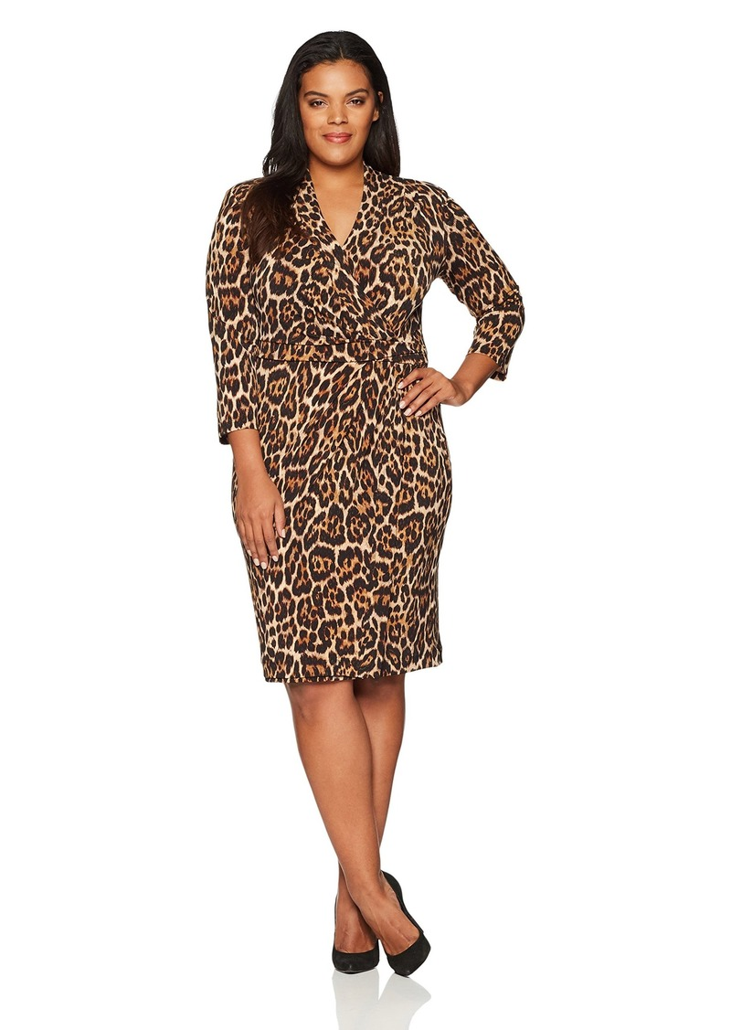Anne Klein Anne Klein Women\'s Plus Size Animal Print WRAP Dress 1X