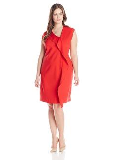 Anne Klein Women's Plus-Size Cap Sleeve Ruffle Asymmetrical Neck Dress