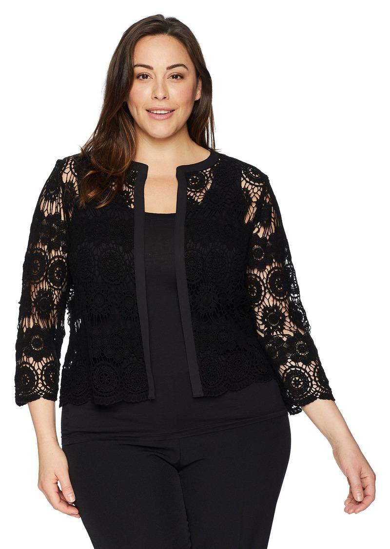 Anne Klein Anne Klein Womens Size Plus Crochet Cardigan Sweaters