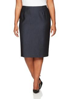Anne Klein Women's Plus Size Denim Twill Skirt Indigo