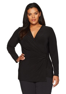 Anne Klein Women's Plus Size Ity Long Sleeve Wrap Blouse