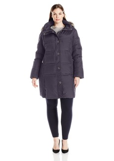 Anne Klein Women's Plus Size Mid Length Down Coat